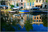 Amsterdam canal and houses photo